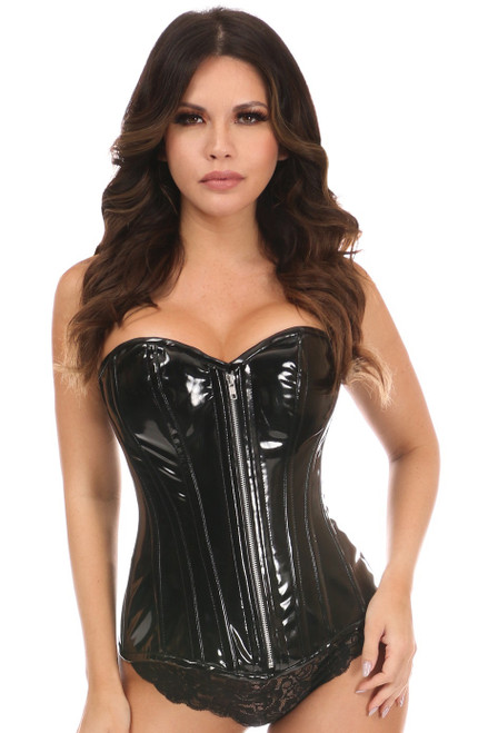 Black Patent PVC Steel-Boned Overbust Corset Extended Sizes
