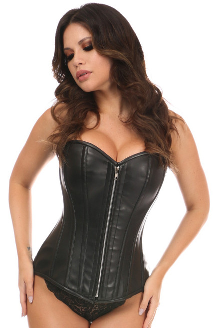 Black Faux Leather Steel Boned Overbust Corset Extended Sizes