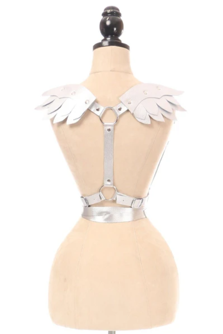 Silver Vegan Leather Winged Body Harness in Queen
