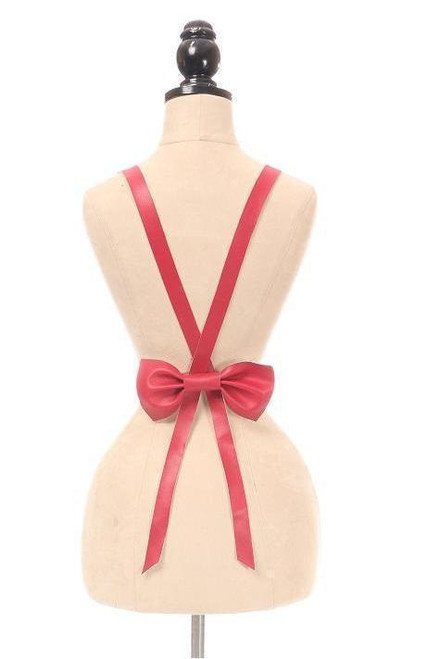 Fuschia Vegan Leather Body Harness with Bow in Queen