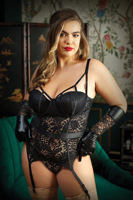 Moonlight Caged Bustier & Panty in Plus