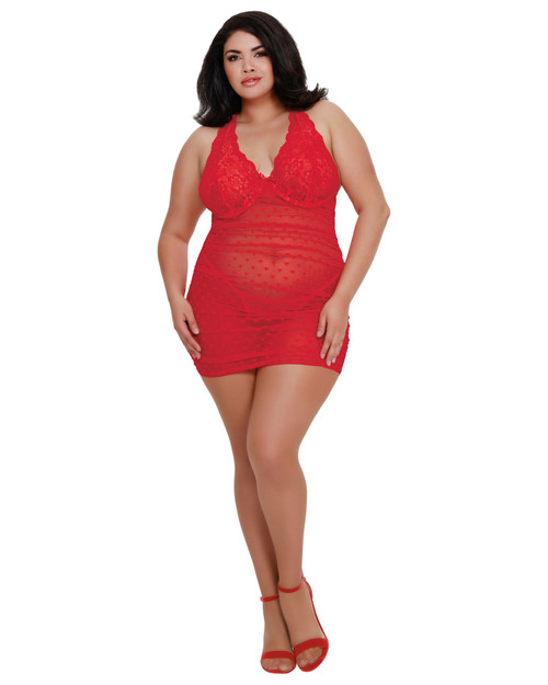 Lipstick Red Heart Print Chemise in Plus
