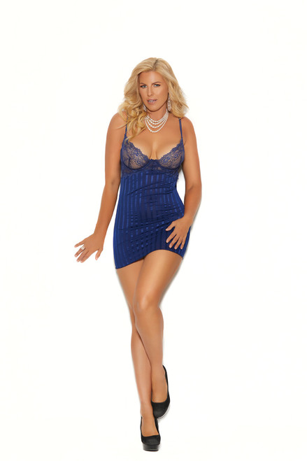 Midnight Blue Shadow Stripe Babydoll in Plus