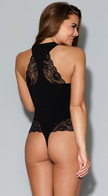 Soft Jersey and Lace Racerback Bodysuit