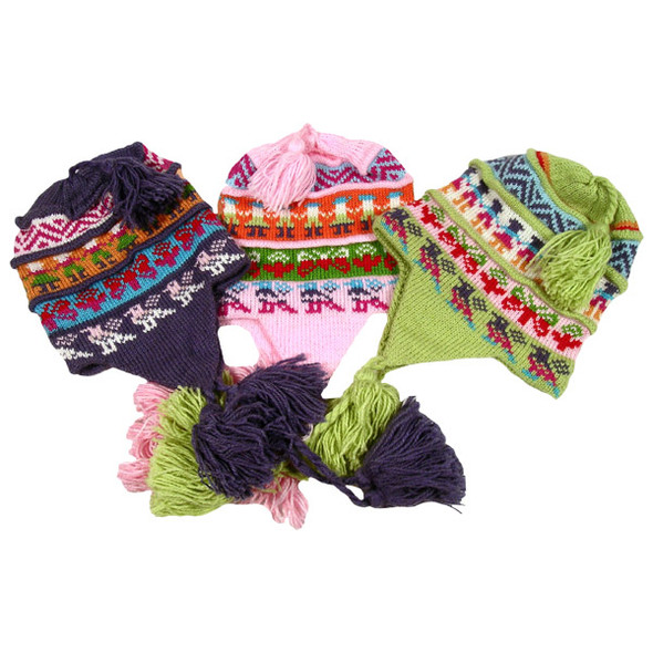 Alpaca Blend Pleated Chullo Hat Wholesale Five Pack