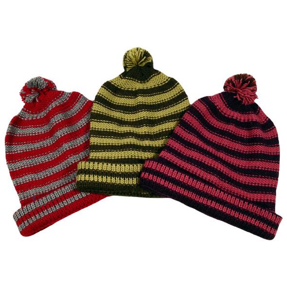 Five Pack Lot Assortment 100% Knit  Alpaca Striped Beanie Hat