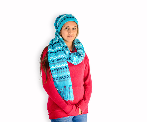 "Alpaca Knit Scarf Hat Knit 9"" x 70"" Color Assortment Pack of Three"