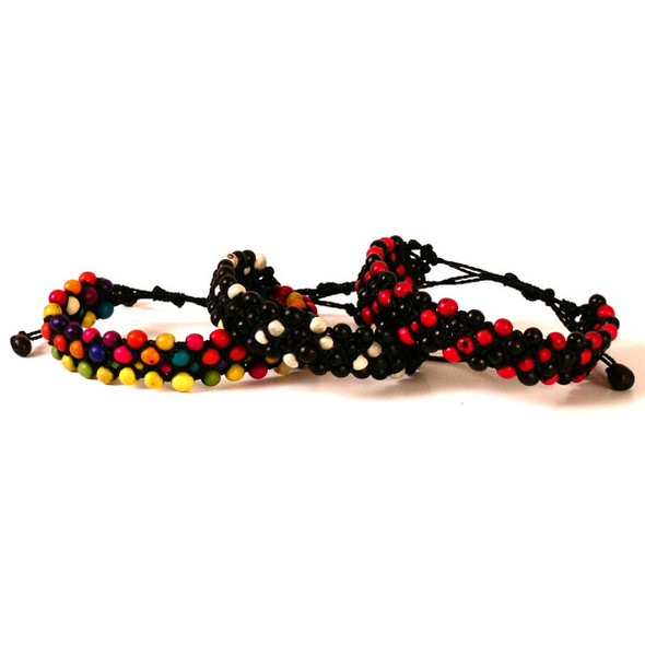 Lot 9 Handmade Bracelets Colored Tagua Nut Slices Natural Seeds Peruvian Jewelry