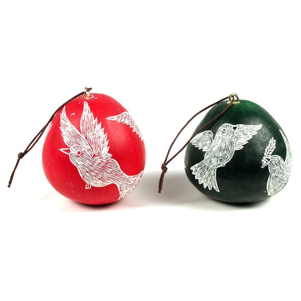 Gourd Dove Ornament Christmas Decoration Peru Three Pack Assortment