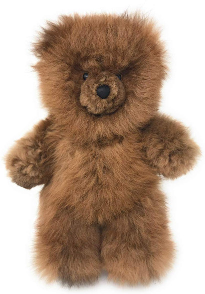 "Natural Brown Alpaca Fur Teddy Bear 15"" Extra Soft"