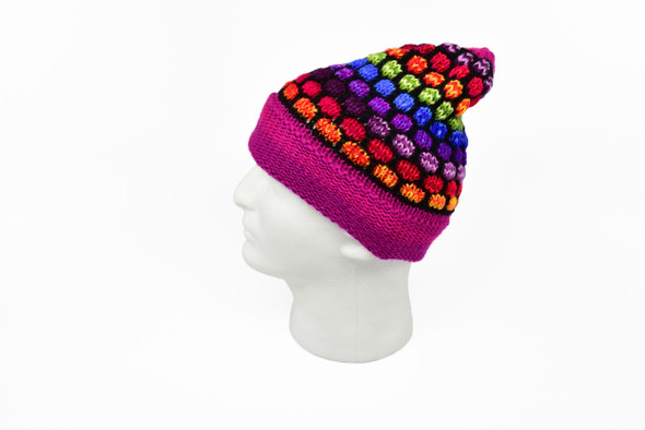 Beanie Tinky Turtle Pattern Alpaca Knit Warm and Soft Multicolored