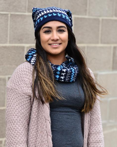 "Three Pack Scarf Hat 100% Alpaca Knit 8"" x 74"" Warm and Cozy"