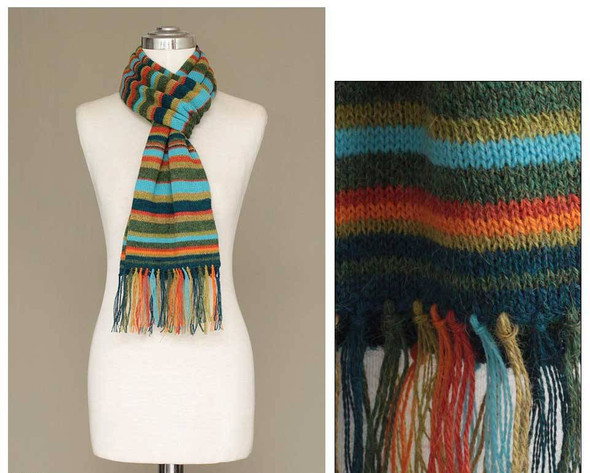 """3 Striped Mountains and Nature 100% Alpaca Scarf 8"""" x 68"""" Lot"""