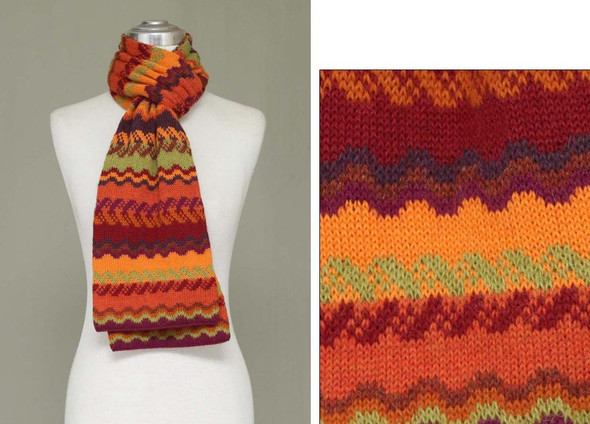 "Three Pack Fine Geometric Knit 100% Alpaca Scarf Fall Shades 8"" x 72"""