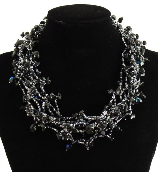 """Multi Strand Magnetic Clasp Glass Beads 19"""" Long Onyx Crystal Necklace"""