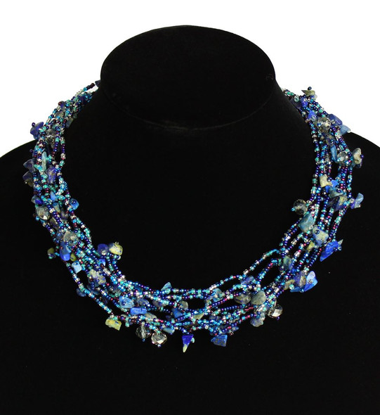 "Multi Strand Magnetic Clasp Glass Beads 19"" Long Blue Iris Necklace Hand Made"