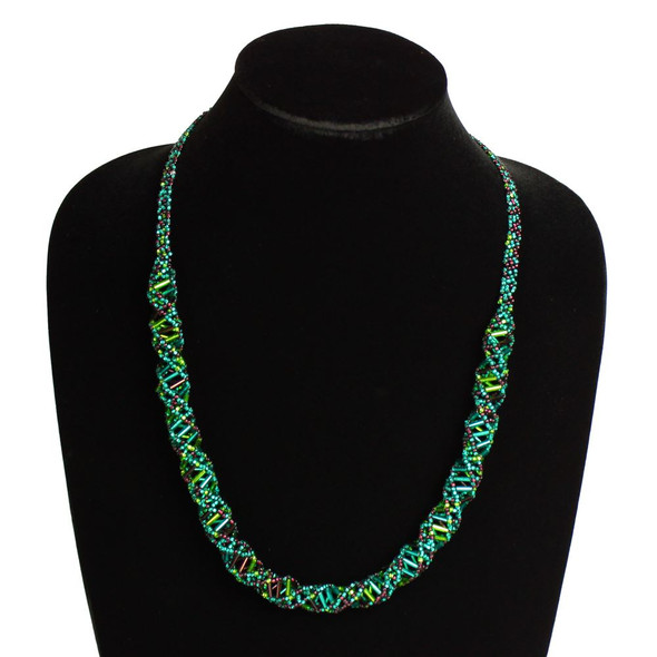 """Magnetic Clasp Glass Beads 19"""" Long Purple Green and Crystal DNA Necklace"""