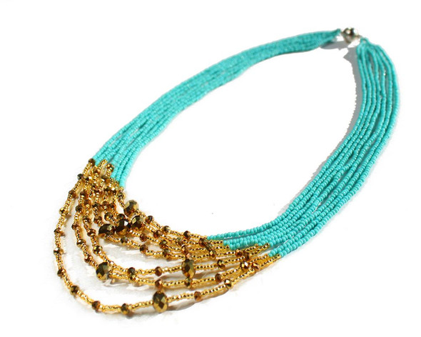 Seven Strand with Crystals Necklace Magnetic Turquoise and Gold, Magnetic Clasp