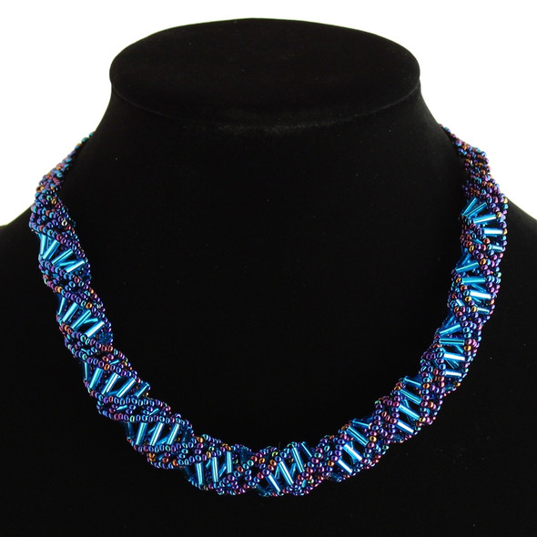 "Magnetic Clasp Glass Beads 18"" Blue Iris and Light Blue DNA Necklace Hand Made"