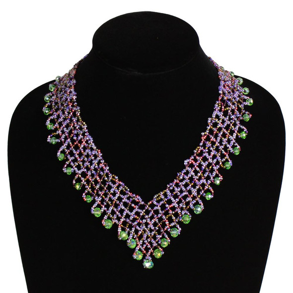 Interwoven Beads Lola Necklace Pink, Purple and Green Magnetic Clasp