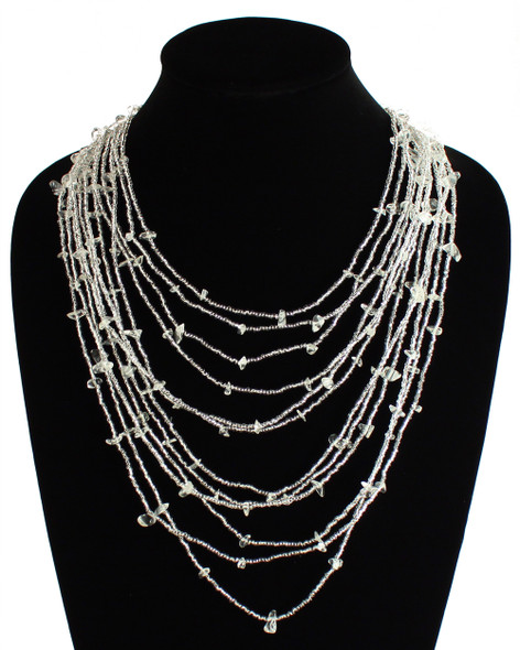 Cascade Necklace Woven Bead Crystals Magnetic Clasp White Glass 24""