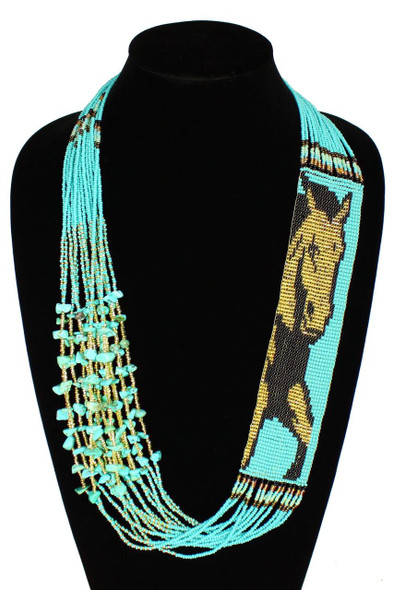 Horse Equestrian Western Gorgeous Hand Beaded Unique Necklace NE700-132