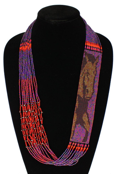 Horse Equestrian Western Gorgeous Hand Beaded Unique Necklace Purple Artisan