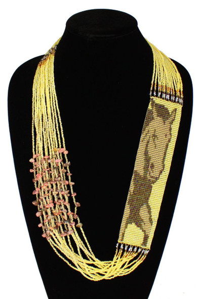 Horse Equestrian Western Gorgeous Hand Beaded Unique Necklace Brass Copper