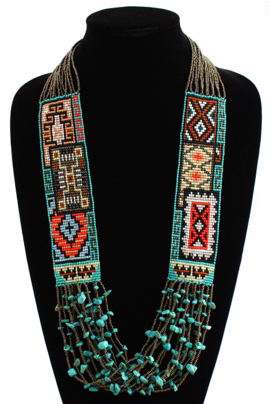 Necklace Woven Glass Beads Crystals Magnetic Clasp Six Rugs Story Bronze