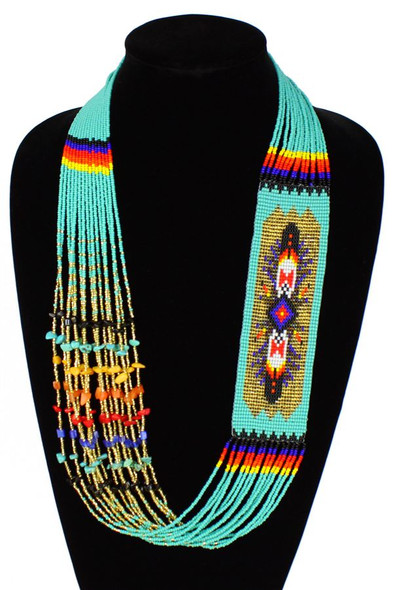 Navajo Diamond Story Necklace Spectacular Hand Beaded Unique Necklace Turquoise Gold