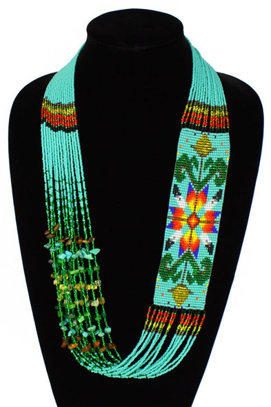 Navajo Star Story Necklace Gorgeous Hand Beaded Unique Necklace Turquoise Artisan Made