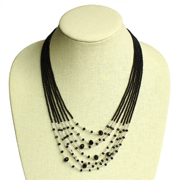 Seven Strand with Crystals Necklace Magnetic Black and Crystal Magnetic Clasp NE166-132