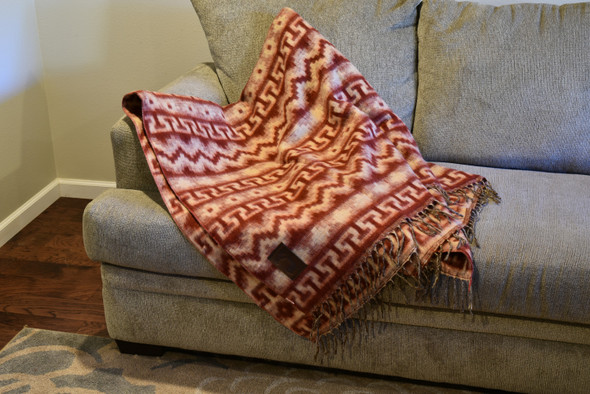 Geometric Alpaca Blanket Maroon and Tan Reversible Inca Patterns