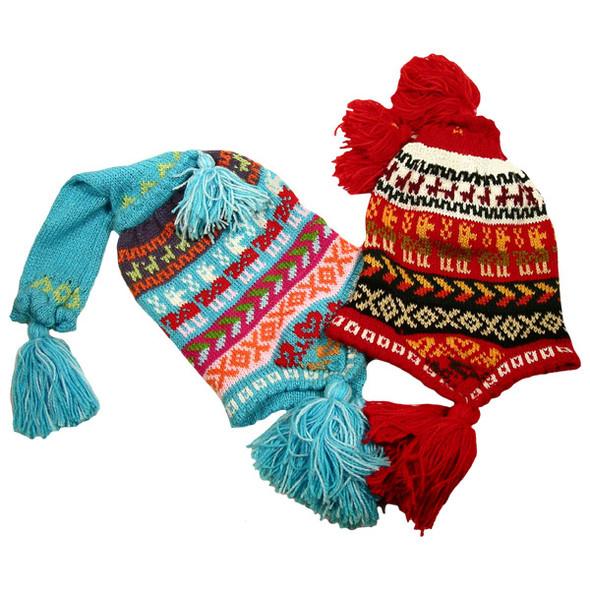 5 Pack Bulk Price Alpaca Blend Adjustable Cone Chullo Hat