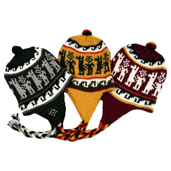 Alpaca Blend Heavy Chullo Hat Five Pack Assortment Lot