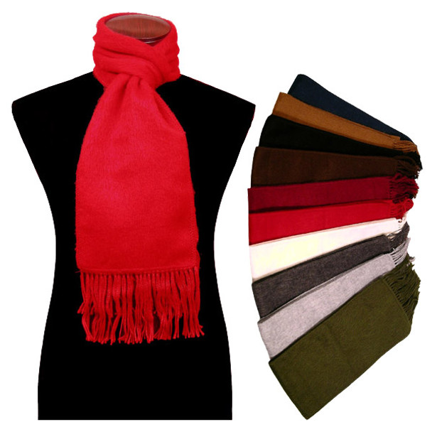 100% Alpaca Brushed Solid Color Scarf with Fringe Ten Pack Assortment