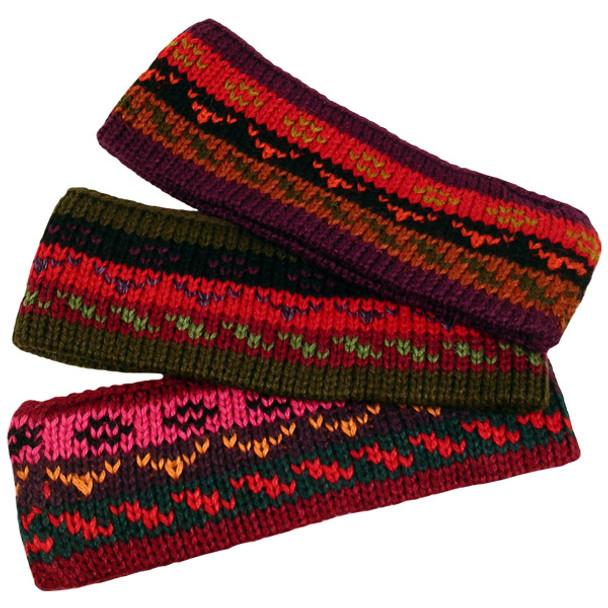 Five Bundle Bulk Discount Alpaca Striped/Geometric Headband Heavy