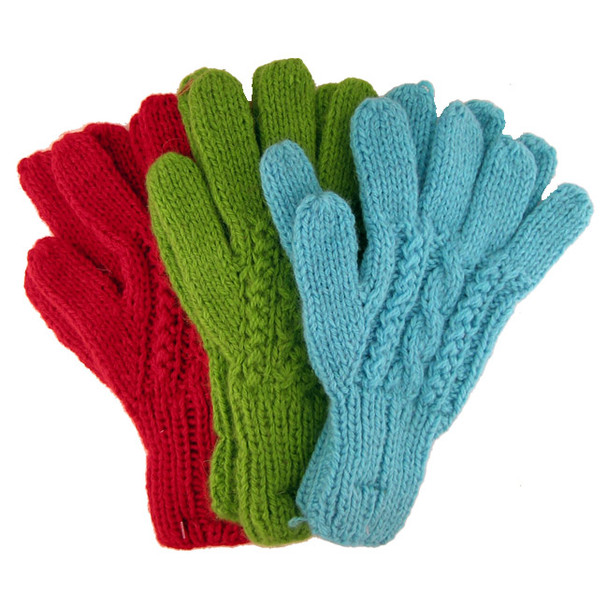 Ten Pack Lot Alpaca Hand Knit Cable Gloves Wholesale Price