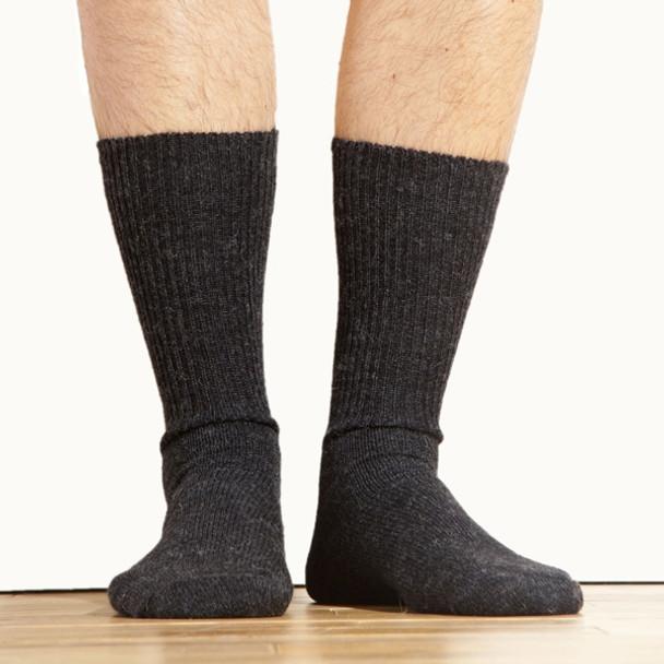 Warm Alpaca Fiber Socks Black Dress Sock Mid-Calf Adult