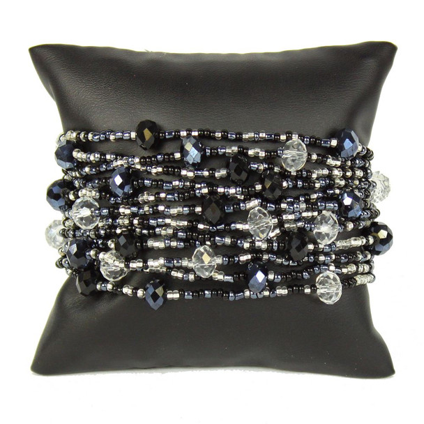 """Gleaming Crystals and Glass Beads Twelve Strands 3"""" Wide Black and White Bracelet"""