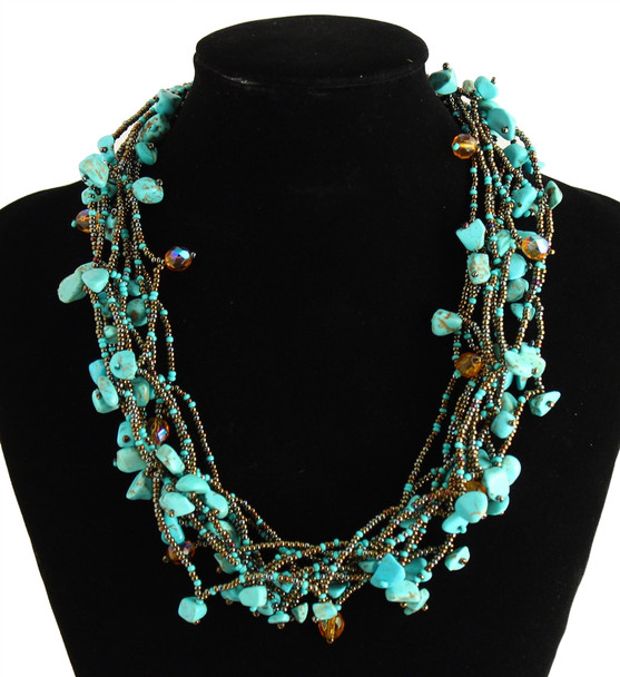 """Multi Strand Magnetic Clasp Glass Beads 19"""" Long Turquoise Copper Necklace"""