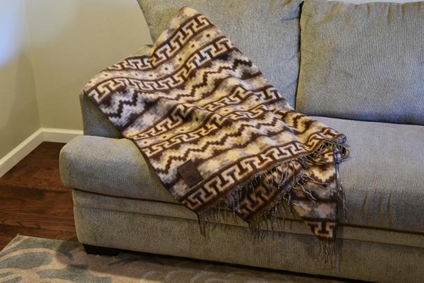 "Brown and Tan Alpaca Blend Blanket Reversible Inca Geometric Pattern 60"" x 84"""