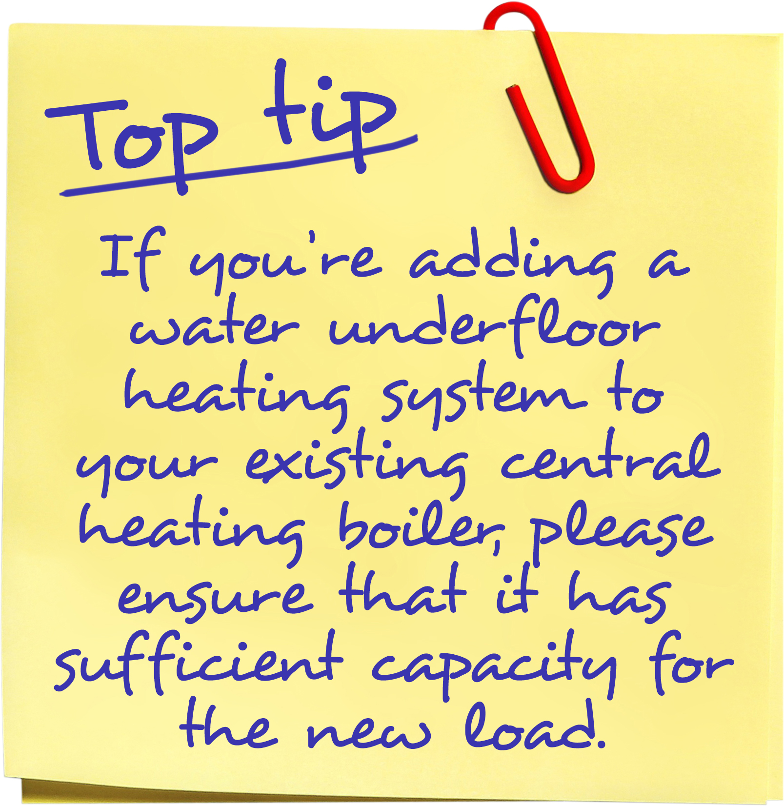 If you're adding a water underfloor heating system to your existing central heating boiler, please ensure that it has sufficient capacity for the new load.