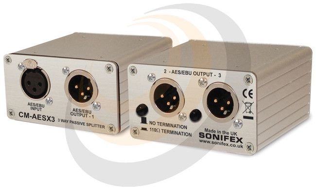 Single 3 Way AES/EBU Passive Splitter With XLR Connectors - Image 1