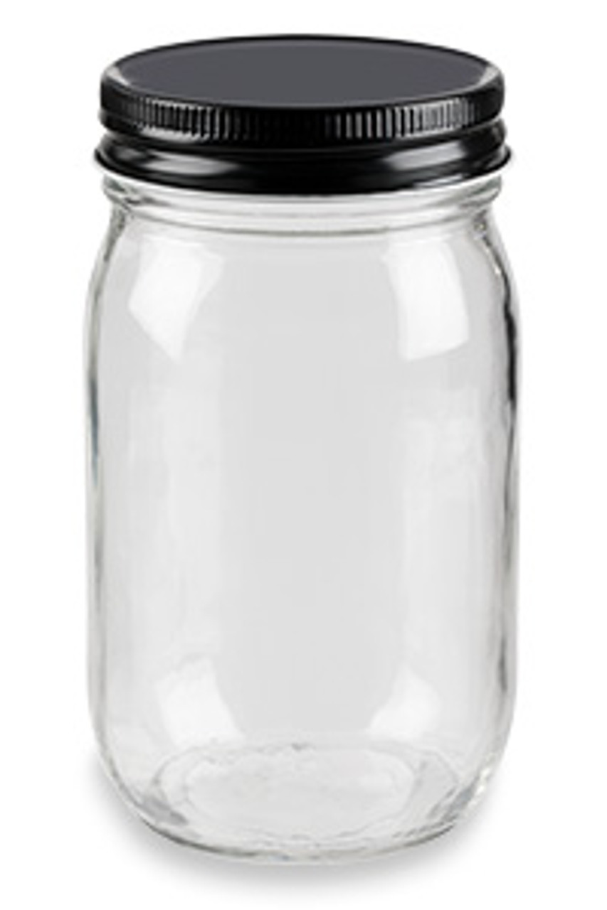 Eco Mason Glass Jar With Black Lid 16 Oz Specialty Bottle