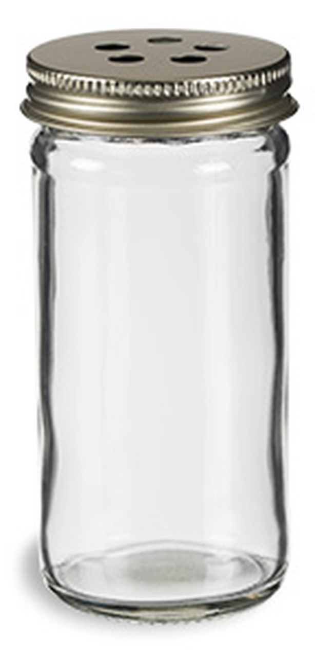 4 oz Spice Jar Round Glass with Gold Metal Shaker Lid