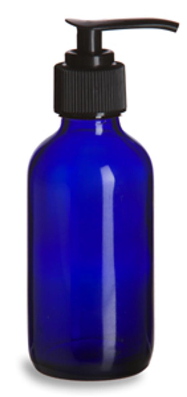 64110fc5ba9c 4 oz Cobalt Blue Boston Round Glass Bottle with Black Pump