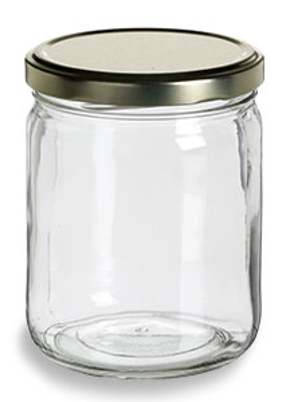 d6f48cf27b40 16 oz Clear Straight Sided Glass Jar with Gold Lid