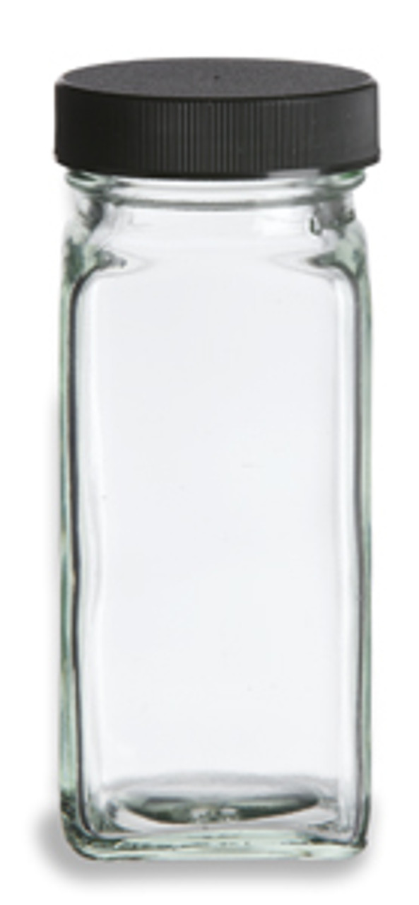 5e9dd3554b7e 4 oz Clear French Square Glass Bottle with Black Cap