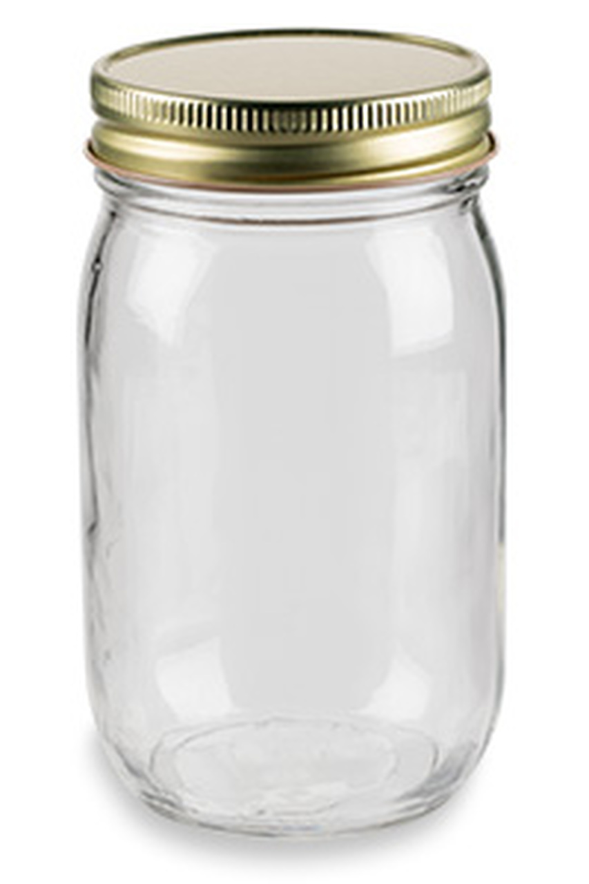 16 oz Eco Mason Glass Jar with Gold Lid